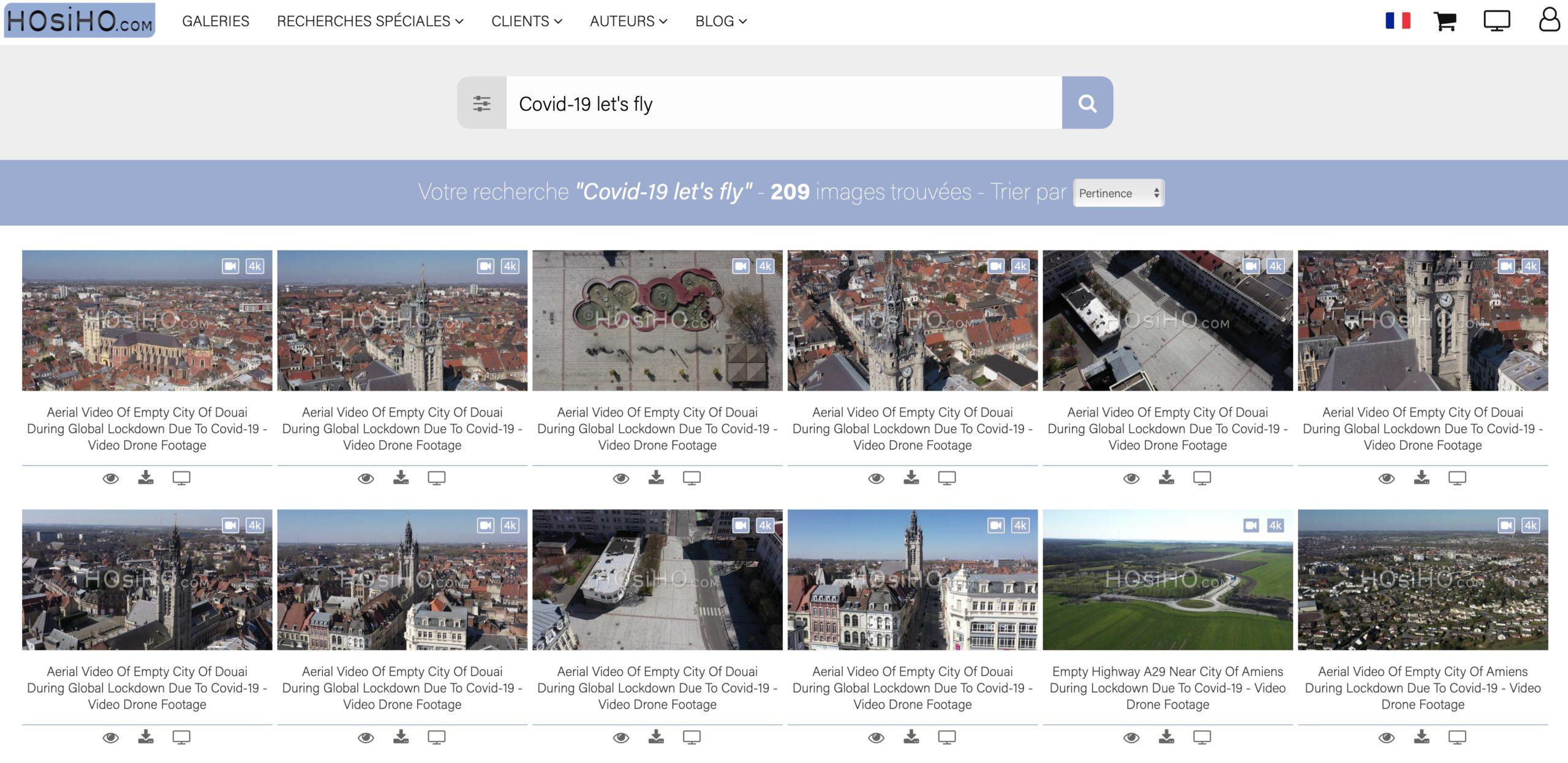 Banque d'image 4K vue drone lille nord hauts de france Covid 19